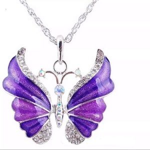 Just In Shimmer Purple Enamel Rhinestone Butterfly